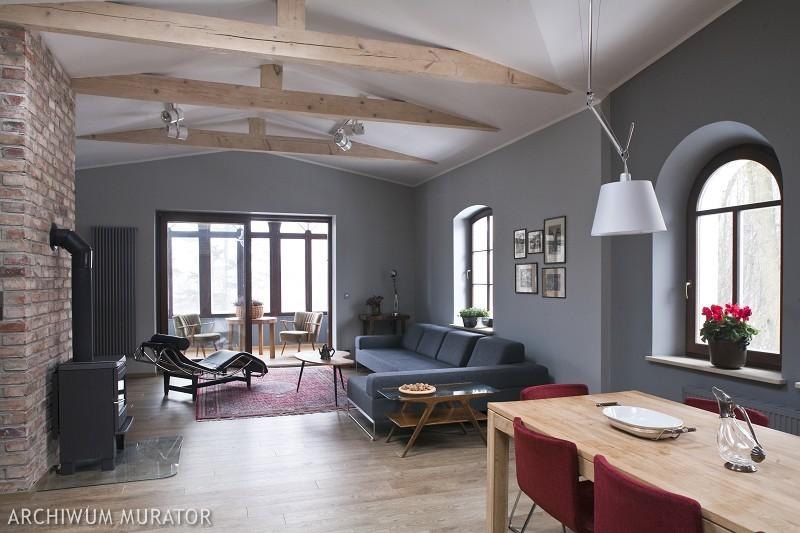 nowoczesny i szary salon - przestrzenne wnętrze