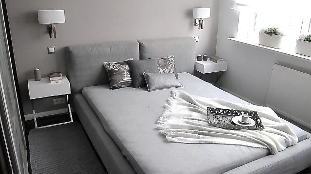 Elegancja szara sypialnia