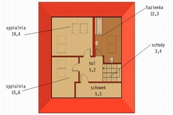 Projekt Murator D33 Nieduży - Plan piętra