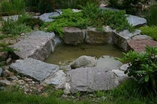 Kamienny brzeg oczka wodnego